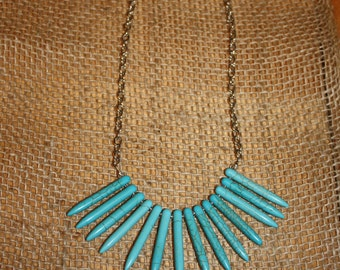 Short Turquoise Spike Statement Necklace