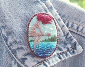 Red Haired Witch upon the Sea / Hand Embroidered Pin / Hand Embroidery by maluenda