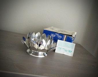 Leonard silverplate lotus flower frog centerpiece, multi use dip set, dish, sauce boat, leonard silver, silver flower dish n. 855
