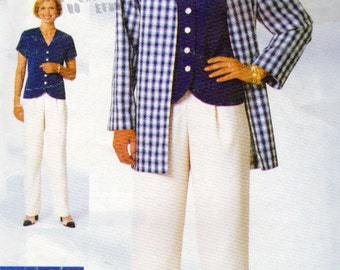 See and Sew 4857, Misses Loose Fitting Below Hip Jacket, Top with Back Slit and Pants Sewing Pattern, Size 12, 14,16, 34 to 38 Inch Bust