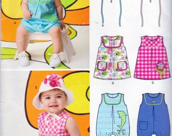 New Look Sewing Pattern 6111, Babies Romper and Sun Dress with Hats Patterns, Sizes 7 to 24 Pounds, Mock Bib Neckline, Pleat In Front  Dress
