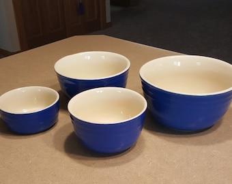 Vintage Oxford Stoneware Mixing Bowl Set of Four Nesting Bowls