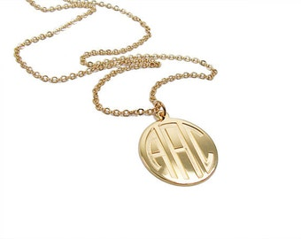 "14k solid gold Monogram pendant. Initials Necklace. 0.8"" Personalized necklace. Monogram jewelry. Gold coin necklace. Monogram"