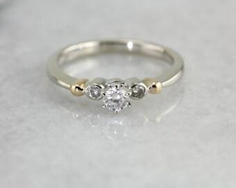 Two Tone Three Stone Diamond Engagement Ring 9W6UP7-P