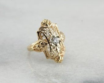 Lovely Art Deco Style Filigree Ring with Diamond Accent, Yellow Gold X6TK3Z-N