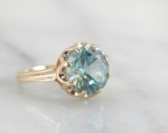 Gorgeous Blue Zircon Ring in Scalloped Setting LYET9Y-R