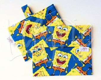 Reusable Sandwich Bag & Reusable Snack Bag Set in SPONGEBOB print- Velcro - ECOfriendly - Food Safe - Dishwasher Safe - Back to School