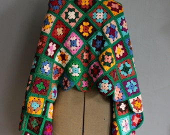 60s Mod Granny Square Squares Shawl Cape Wrap Handmade Crochet Knitted Geometric Multi Colored Psychedelic Festival Hippie Flower Power