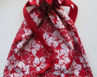 Maple Leaf Lined Drawstring Fabric Gift Bag - Holiday Christmas...OR NOT