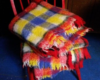 Blankets Plaid Mohair Red Yellow Blue Vintage