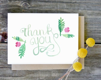 """Watercolor Floral Thank You Cards PRINTED WITH ENVELOPES, Holiday Thank You Cards, Wedding Thank you Cards, Folded A1 Size 3.5""""x5"""""""