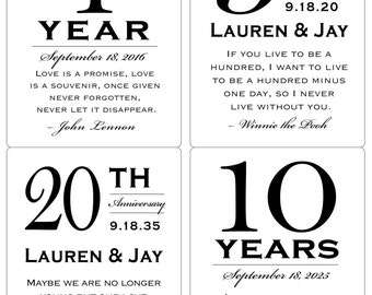 Personalized Anniversary Wine Labels as Gifts / Favors / Corporate Wine Labels / Shower Engagement - Pre-cut PRINTED & SHIPPED (Sets of 4)
