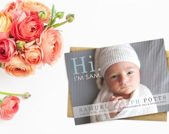 Newborn Photo Birth Announcements, Baby Boy Announcements, Gray Blue Newborn Announcements Printed with Envelopes