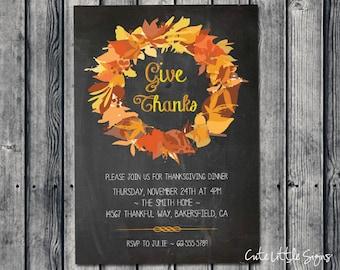 Chalk Wreath Thanksgiving Dinner Invitation Digital Download