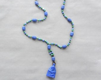 Art Deco Czech Blue Glass Shaman Neiger Flapper Necklace