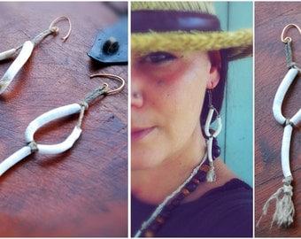 seashell primitive earrings
