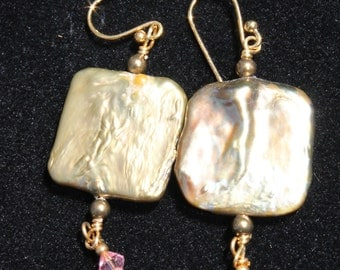 Mother of Pearl look with Pink Crystal Earrings