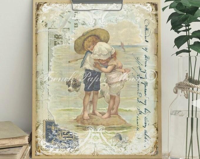 French Seaside Digital Image, Vintage Children Download, Vintage French Pillow Transfer Graphic
