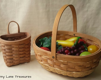 Vintage Hand Woven Wood Baskets ~ Containers ~ 1980's ~ Picnic ~ Flower ~ Country Farm Rustic ~ Wedding Supplies ~ Farmers Market Basket