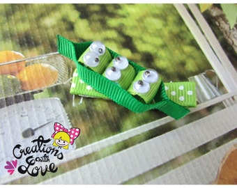 Peas in a Pod Ribbon Sculpture Hair Clip