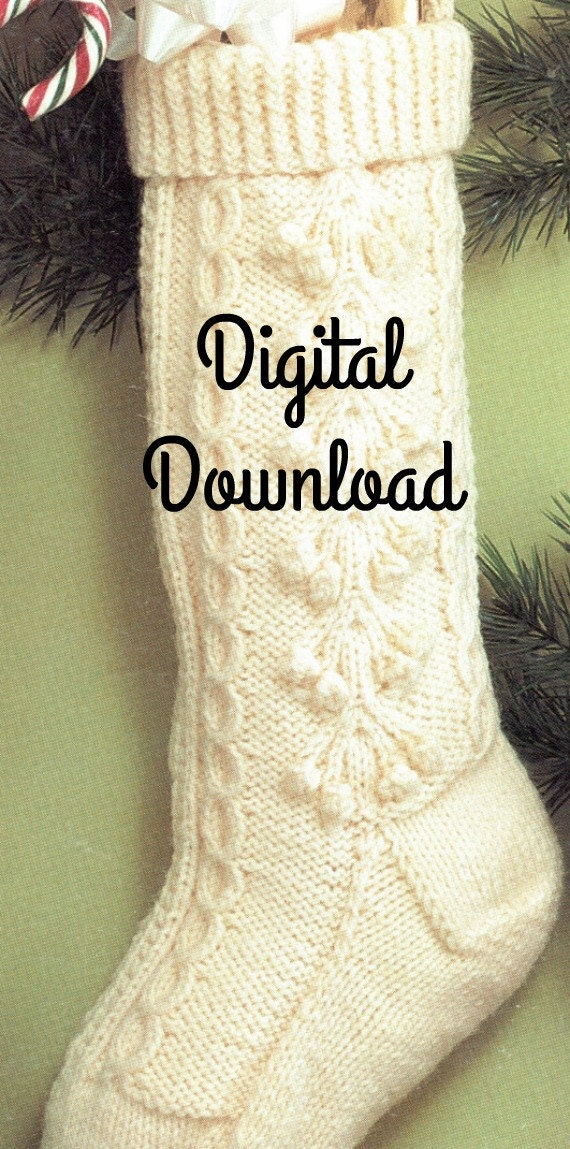 Vintage Christmas Stocking Knitting Pattern : Christmas Stocking Fisherman Knit Vintage Christmas Sock