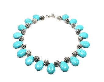 Chunky Turquoise Necklace - Turquoise Statement Necklace - Turquoise Collar - Chunky Gemstone Necklace - Turquoise Beaded Necklaces