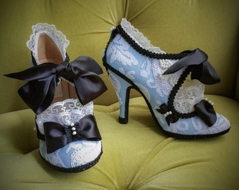 alice in wonderland inspired costume shoes high heels party. Black Bedroom Furniture Sets. Home Design Ideas