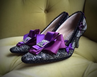 Goth Marie Antoinette Shoes Costume Heels Rococo Baroque Fantasy Pumps Purple Bows Silver Lace Black Brocade French Revolution CUSTOM Bridal
