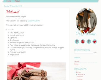 PreMade Blog Template, Blogger Design, Salinde Delight