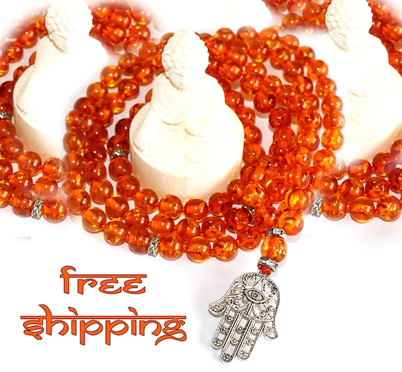 Japa Mala Hand Knotted 108 Gemstone Amber  8mm Beads Prayer Yoga Necklace for Meditation and Mantra - Free Shipping