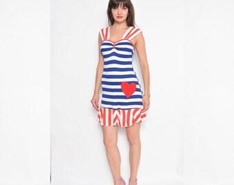 Vintage 80's Striped Mini Dress / Sleeveless Striped Dress
