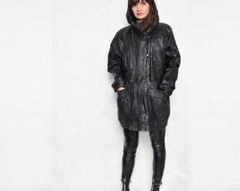 Vintage 90's Black Real Leather Hooded Long Jacket /  Genuine Leather Oversized Jacket - Size Medium