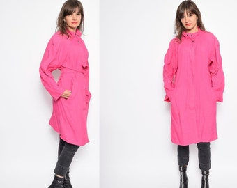 Vintage 80's Neon Pink Raincoat - Size Medium
