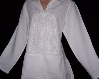 Laura Ashley vintage - pure linen embroidered long tunic-shirt, front pockets, size 18 UK