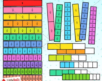 Fraction Bars Math Clipart and Lineart - personal and commercial use
