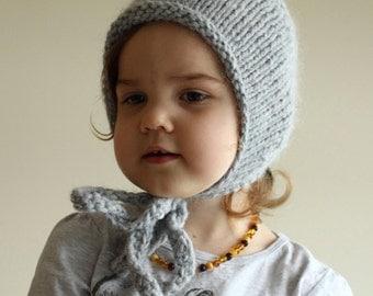 knit warm alpaca bonnet, winter bonnet, baby bonnet, toddler bonnet, sitter bonnet, newborn bonnet, grey bonnet, girls bonnet, boy bonnet