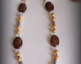 Egyptian Inspired Pearl, Glass, and Natural stone Necklace. Gifts for her. Beaded Necklace. Gift. Beaded Jewelry. Unique.