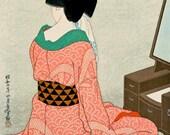Japanese art, Geisha In front of the mirror Hirano Hakuho FINE ART PRINT, woman bijin-ga, vintage paintings, woodblock prints, art posters