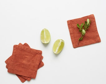 Set of 4 Baked Clay Washed Linen Coasters