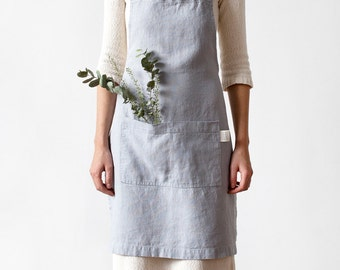 Light Grey Stone Washed Linen Apron