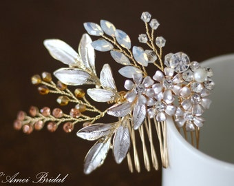 Pretty in rose golden Comb - Bridal Flower Hair Accessory - Bride Bridesmaid Flowergirl - small Flowers Comb