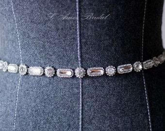 Ready To Ship - Rhinestone encrusted bridal belt, Crystal Belt, Bridal Sash,Crystal Pearl Weave Bridal Belt Sash in Silver