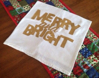 Merry and Bright Flour Sack Tea Towel