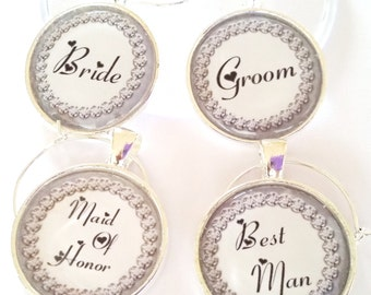 Wedding Party Wine Glass Charms, You Choose Each Wedding Wine Charms, Wedding Party Keepsakes, Champagne Glass Charms, Wedding Day Memento
