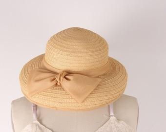 Vintage 1950s straw hat beige organza bow Mr John Jr - MINT CONDITION
