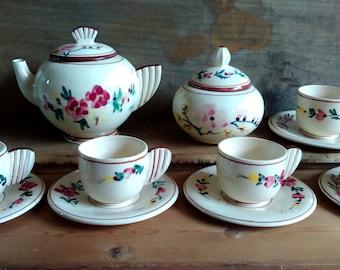 Art deco tea set, Art deco tea service, Hand painted English studio pottery tea set, vintage tea set, Art Deco Hand painted tea service