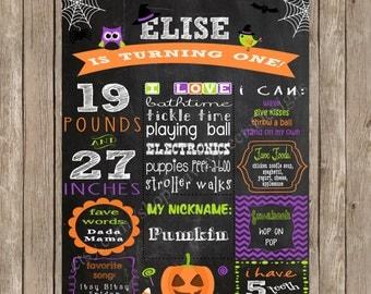Halloween Birthday Sign - Halloween Birthday Poster - Baby's First Halloween Sign - Halloween Chalkboard Birthday Sign - DIY Printable