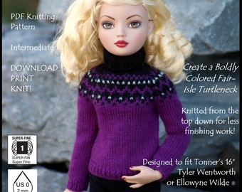 Pixie Faire Sew Cool Separates Fabulous Fair Isle Doll Clothes Knitting Pattern For Tyler Wentworth and Ellowyne Wilde Dolls - PDF