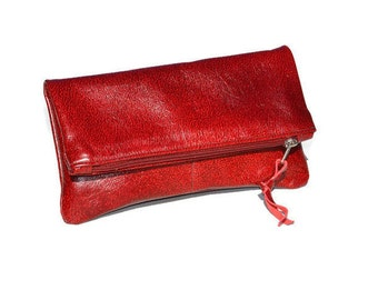 Fold Over Leather Clutch | Leather Clutch Pouch | Red Leather Foldover Clutch Wallet | Fold Over Bag | Designer Leather Fold Over Purse