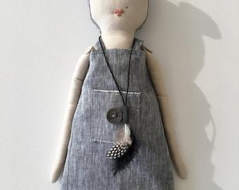 Sascha - handmade heirloom doll in linen and accessories